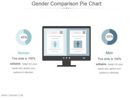 Gender Comparison Pie Chart Powerpoint Slide Show