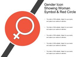 Gender Icon Showing Woman Symbol And Red Circle