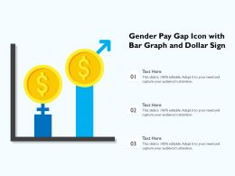 Gender Pay Gap Icon With Bar Graph And Dollar Sign