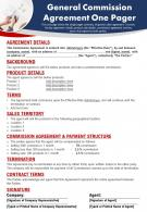 General Commission Agreement One Pager Presentation Report Infographic PPT PDF Document