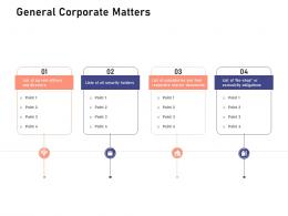 General Corporate Matters Investigation For Investment Ppt Powerpoint Presentation Summary