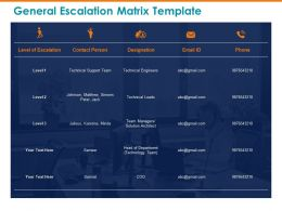 General Escalation Matrix Template Matthew Ppt Powerpoint Presentation Professional Templates
