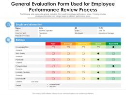 General Evaluation Form Used For Employee Performance Review Process