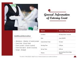 General Information Of Catering Event Ppt Powerpoint Presentation Styles Example Topics