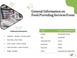 General Information On Food Providing Services Event Ppt Powerpoint Presentation Picture