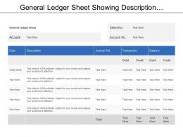 General Ledger Sheet Showing Description And Transactions