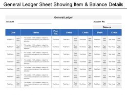 General Ledger Sheet Showing Item And Balance Details