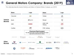 General Motors Company Brands 2019