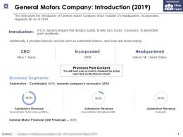 General Motors Company Introduction 2019