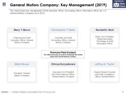 General Motors Company Key Management 2019