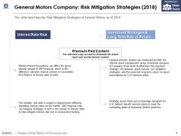 General Motors Company Risk Mitigation Strategies 2018