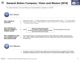 General Motors Company Vision And Mission 2018