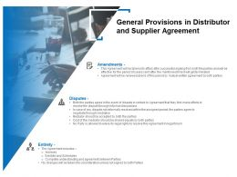 General Provisions In Distributor And Supplier Agreement Ppt Microsoft