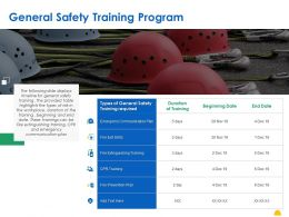 General Safety Training Program Ppt Powerpoint Presentation Ideas Deck