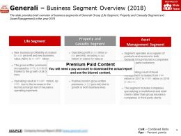 Generali Business Segment Overview 2018
