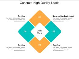 Generate High Quality Leads Ppt Powerpoint Presentation Icon Show Cpb