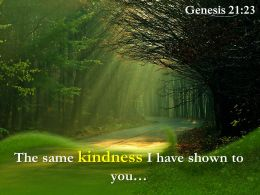 Genesis 21 23 The Same Kindness I Have Shown Powerpoint Church Sermon