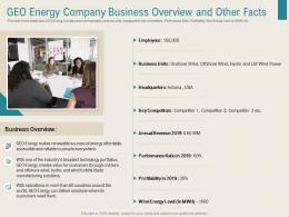 Geo Energy Company Business Overview And Other Facts Renewable Energy Sector Ppt Slide
