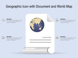 Geographic Icon With Document And World Map