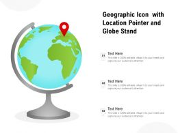 Geographic Icon With Location Pointer And Globe Stand