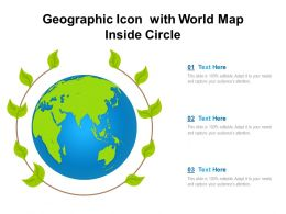 Geographic Icon With World Map Inside Circle
