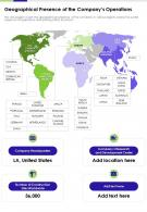 Geographical Presence Of The Companys Operations Presentation Report Infographic PPT PDF Document