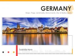 Germany Maps Flags Landmarks Monuments City And Skyline Deck Powerpoint Template