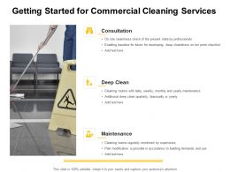 Getting Started For Commercial Cleaning Services Ppt Powerpoint Presentation Visual Aids