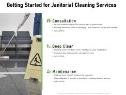 Getting Started For Janitorial Cleaning Services Ppt Powerpoint Presentation Layouts Aids