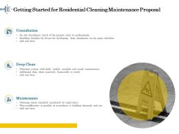Getting Started For Residential Cleaning Maintenance Proposal Ppt File Formats