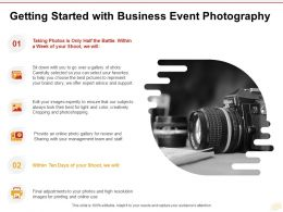 Getting Started With Business Event Photography Ppt Powerpoint Presentation Gallery Icon