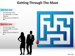 getting through the maze with business men women labyrinth puzzle ppt slides diagrams powerpoint info graphics