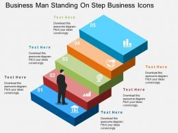 Gf Business Man Standing On Step Business Icons Flat Powerpoint Design