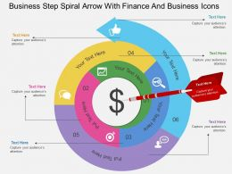Gf Business Step Spiral Arrow With Finance And Business Icons Flat Powerpoint Design