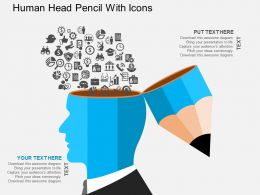 gf Human Head Pencil With Icons Flat Powerpoint Design
