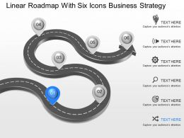 gf Linear Roadmap With Six Icons Business Strategy Powerpoint Template