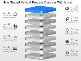 gf Nine Staged Vertical Process Diagram With Icons Powerpoint Template