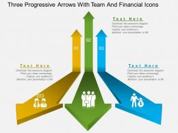Gf Three Progressive Arrows With Team And Financial Icons Powerpoint Template