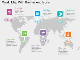 gf World Map With Banner And Icons Flat Powerpoint Design