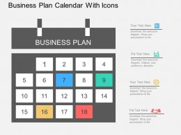 Gg Business Plan Calendar With Icons Flat Powerpoint Design