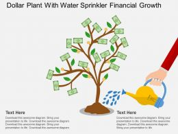 Gg Dollar Plant With Water Sprinkler Financial Growth Flat Powerpoint Design