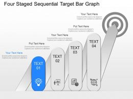 gh Four Staged Sequential Target Bar Graph Powerpoint Template