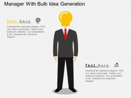 gh Manager With Bulb Idea Generation Flat Powerpoint Design