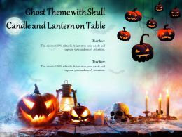 Ghost Theme With Skull Candle And Lantern On Table