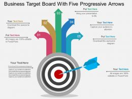 Gi Business Target Board With Five Progressive Arrows Flat Powerpoint Design