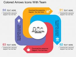 Gi Colored Arrows Icons With Team Flat Powerpoint Design