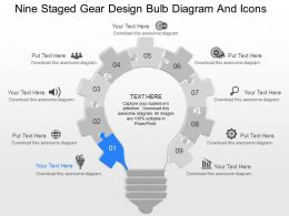 gi Nine Staged Gear Design Bulb Diagram And Icons Powerpoint Template