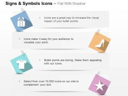 Gift Box Tshirt Heels Star Ppt Icons Graphics