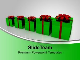 Gift Boxes Bar Graph Green Celebration Shopping Powerpoint Templates Ppt Themes And Graphics 0113