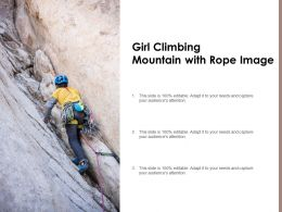 Girl Climbing Mountain With Rope Image